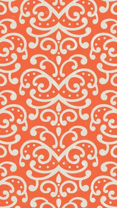 iphone 5 wallpaper - #orange #damask #pattern