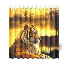 "Tiger and Sunset Shower Curtain 69""x70"". FREE Shipping. FREE Returns."