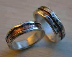rustic silver and copper wedding rings  handmade by MaggiDesigns, $280.00