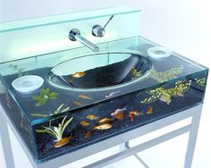 Funny pictures about Bathroom sink fish tank. Oh, and cool pics about Bathroom sink fish tank. Also, Bathroom sink fish tank photos. Aquarium Design, Aquarium Original, Lavabo Design, Sink Design, Kitchen Design, Bath Design, Bowl Sink, Duravit, Modern Bathrooms
