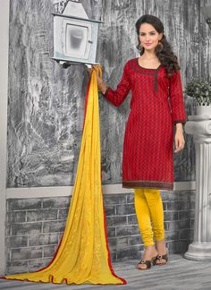 Attract compliments by this red bhagalpuri silk churidar designer suit. This ravishing attire is amazingly embroidered with lace and print work. Comes with matching bottom and dupatta. (Slight variati...