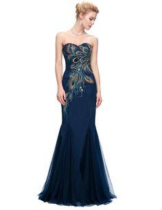 Elegant Peacock Strapless Long Mermaid Bridesmaid Dress