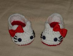 Crochet Pattern for Hello Kitty Slippers, Baby Booties