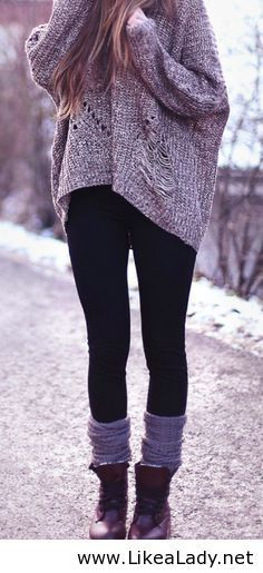 Women's Grey Knit Oversized Sweater, Black Leggings, Burgundy Leather Boots…