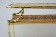 Console 70's in golden metal and bamboo