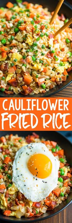 The ULTIMATE Cauliflower Fried Rice... for breakfast! This tasty cauliflower rice is sautéed with colorful veggies, fluffy scrambled eggs, and crispy bacon, then drizzled with a homemade yum sauce for a totally irresistible breakfast bowl! #breakfast #brunch #cauliflower #cauliflowerrice #friedrice #lowcarb #keto #paleo #whole30 #brinner #grainfree #eggs #bacon Egg Recipes For Breakfast, Breakfast For Dinner, Breakfast Bowls, Breakfast Ideas, Bacon Breakfast, Bacon Recipes, Cooking Recipes, Healthy Recipes, Delicious Recipes