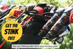 Get the stink out! ~This is exactly how I clean my son's gear. I've always been leery of washing the gloves though, now I'll try them too.