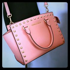 More pictures for MK stud selma pink Please see other listing for more pictures MICHAEL Michael Kors Bags Crossbody Bags