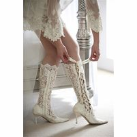 House of Elliot Victorian Wedding Boots - Lace Wedding Shoes - Black Lace Boots
