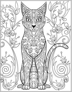 Cat Stress Relieving Designs Patterns Adult Coloring Book Page 16