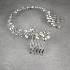 perłowy stroik ślubny do włosów