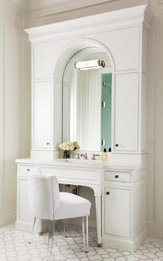 White Bath Vanity with Arched Mirror and White Terry Cloth Vanity Chair with Lucite Legs - Transitional - Bathroom Bathroom Vanity Designs, White Vanity Bathroom, Bathroom Ideas, Master Bathroom, Chic Bathrooms, Home Decor Inspiration, Furniture Inspiration, Beautiful Bathrooms, Design Firms