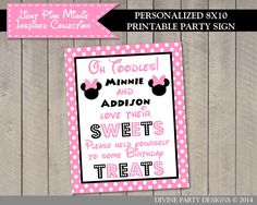 Light Pink Minnie Mouse Birthday Party Ideas: Personalized Printable Sweets sign for a dessert table or candy bar!