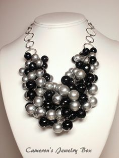 Chunky Statement Necklace Beaded Black and by CameronsJewelryBox, $60.00      This could be cute if it were a little smaller...maybe she can do it?