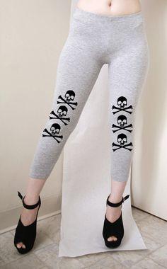Skulls Cross Bone Womens Gray Leggings Capri Style by rabbitandeye, $25.00