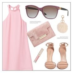 """""""Girl in Pink"""" by smartbuyglasses ❤ liked on Polyvore featuring MANGO, Stuart Weitzman, Versace, By Terry, Armitage Avenue and Pink"""
