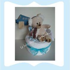 Mon aviateur Gâteau de couches ou diaper cake pour cadeau de naissance ou baby shower www.lababyshowerdemaman.fr ou lababyshowerdemaman@hotmail.fr pour toutes vos demandes