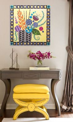 ARTFINDER: Fresh Cut by Lynn Hughes - A dazzling bouquet of vibrant blossoms meticulously painted in rich tones on a subtle yellow background. Textural elements and the delicate application of go...