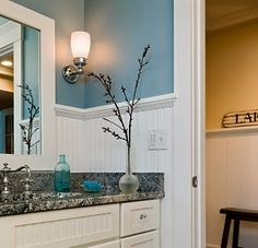 white beadboard walls with blue