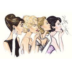 ETERNOS ÍCONES DE BELEZA: Audrey Hepburn, Marilyn Monroe, Grace Kelly and Elizabeth Taylor Ilustração Hayden Williams