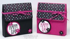 Cardstock – 8 x 11″  Score on the LONG side at 1, 5.25, 6.25, 10.5″  Score on the SHORT side at 1, 5.5″  DSP Panel – 2.25 x 4″  Stampin' Up! Demonstrator Pootles - Pop of Pink Heart Bag
