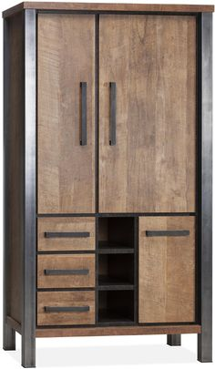 Kinga broodkast uitgevoerd in Lamulux melamine kleur old teak - Maxfurn Modern Industrial, Industrial Design, Diy Cnc Router, Window Sizes, Metal Furniture, Wood And Metal, Interior And Exterior, Armoire, Tall Cabinet Storage