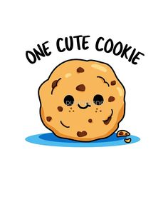 'One Cute Cookie Food Pun' by punnybone – Best Anımals Food Funny Food Puns, Punny Puns, Cute Puns, Food Humor, Cute Food Drawings, Kawaii Drawings, Kawaii Doodles, Cute Doodles, Cookie Drawing