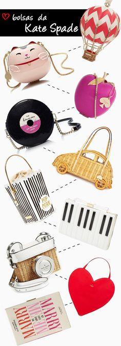 Post sobre as bolsas e clutch da Kate Spade, criativas e cheias de personalidade.