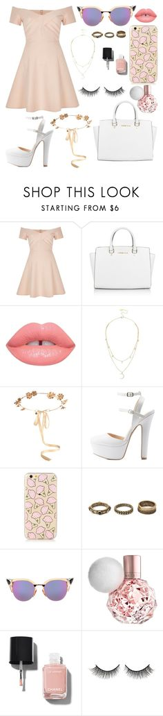 """Pink pastel & white"" by catelondon ❤ liked on Polyvore featuring River Island, Michael Kors, Lime Crime, Lipsy, Eugenia Kim, Charlotte Russe, Forever 21, Fendi, Chanel and Rimini"