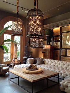 Beautiful interior and lighting birdcage chandelier