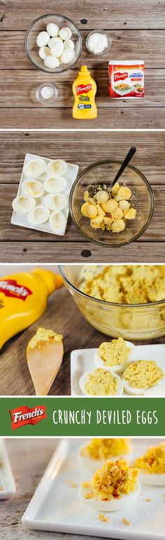 Great for Easter holiday entertaining, our deviled egg recipes have a satisfying crunch and flavor. Mix egg yolks with a few simple ingredients: mayonnaise, French's mustard and sweet pickle relish. Spoon the ingredients onto egg whites and garnish with French's Crispy Fried Onions for a tasty upgrade. Serve the leftover filling onto crackers or endive leaves for an easy Easter side dish. Combine, top and serve. Prepare in 30 minutes or less. Deviled eggs have never tasted better!