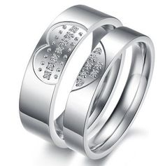 "Titanium Ring Wedding Band set ""heart"" Men's Ladies Engagement Wedding Promise Fashion Jewelry Collection couple rings"