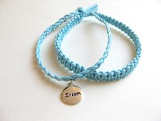 PATTERN and tutorial for Beginners Two in One Macrame and braided Blue Bracelet