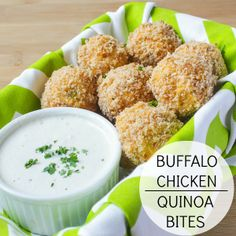 Buffalo Quinoa Chicken Bites with Healthy Homemade Blue Cheese Dressing