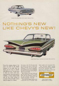 1959 Chevrolet Impala Sport Coupe & Chevy Bel Air by AdVintageCom