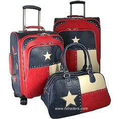 Texas Flag 3 Piece Texas Luggage Set  http://www.txtraders.com/shop/item.aspx/texas_flag_luggage/#