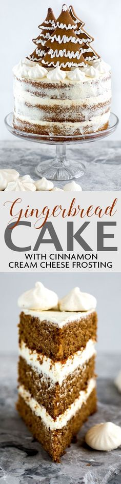 Gingerbread layer cake with cinnamon cream cheese frosting and gingerbread cookie decoration | Supergolden Bakes