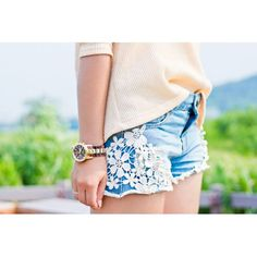 Crochet Detail Denim Cutoff Shorts - I LOVE THESE!!! I'm dying for a pair of lace embellished jean shorts!
