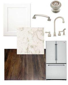 White Shaker Cabinets, dark hardwood, light granite