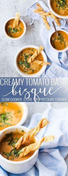 Tomato Basil Soup | instant pot tomato soup | homemade tomato bisque | homemade soup recipes | instant pot recipe ideas | cold weather instant pot recipes | instant pot soup recipes | instant pot dinner recipes | cold weather recipe ideas || Oh So Delicioso #InstantPot