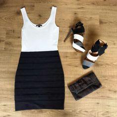 Little black and white dress amazing heels