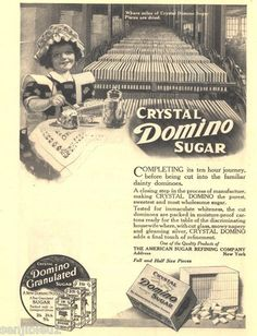 1913 Ads Domino Sugar  Girl Doll Cat Factory  refinery