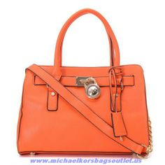 Cheap Michael Kors Hamilton Small Leather Bags Orange Discount