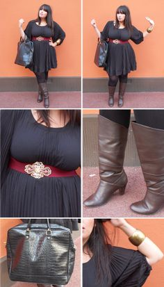 Plus size black dress with red wide belt, black tights and brown boots