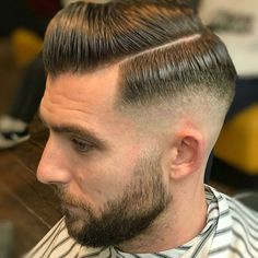 Hard Side Part with High Fade and Full Beard - Best Men's Hairstyles: Cool Haircuts For Guys Cool Mens Haircuts, Cool Hairstyles For Men, Men's Haircuts, Funky Hairstyles, Formal Hairstyles, Comb Over Haircut, Fade Haircut, Quiff Hairstyles, Latest Hairstyles