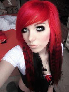 #red & #black #dyed #scene #hair #pretty