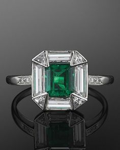 Art Deco Emerald and Diamond Ring, circa 1920s.