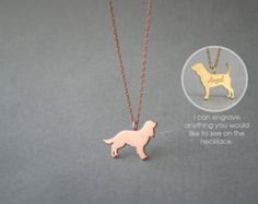 14K Solid GOLD Tiny POODLE Name Necklace Poodle by HUDOCA on Etsy