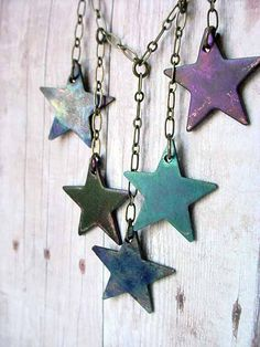 Celestial Blue Stars Necklace Copper Patina Star Dangles in Indigo, Persian Blue and Violet Gift Box Pentacle, Persian Blue, Sun Moon Stars, Star Jewelry, Lucky Star, Twinkle Twinkle Little Star, Love Stars, Soft Summer, Star Necklace