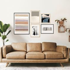 Gallery wall suggestion of #artprints of abstracts by Menega Sabidussi in black and white and earthy, neutral decor colors. Wood framed #wallart, #pastel #muted colors, #organic #shapes and #forest landscapes. Kunstdrucke.